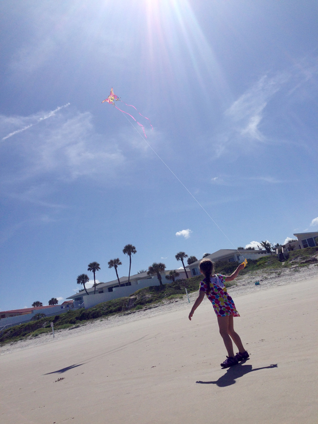 flying a kite on Daytona Beach, Florida