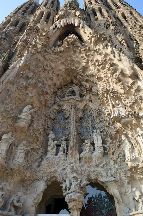 Exterior detail of La Sagrada Familia in Barcelona, Spain