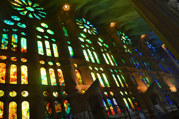 Stained glass inside La Sagrada Familia in Barcelona, Spain