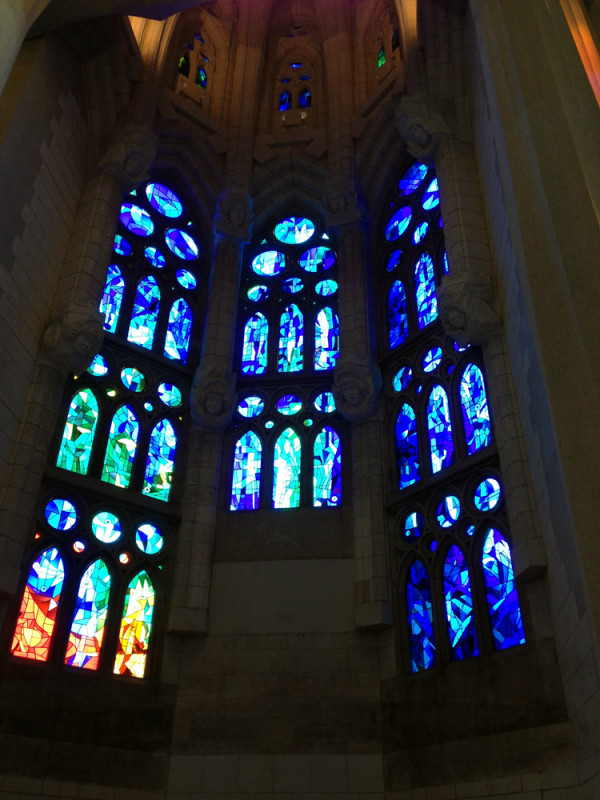 Stained glass inside La Sagrada Familia