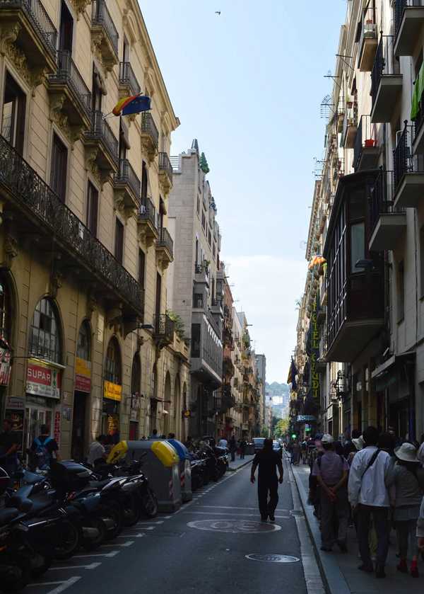 Street off of Las Ramblas in Barcelona