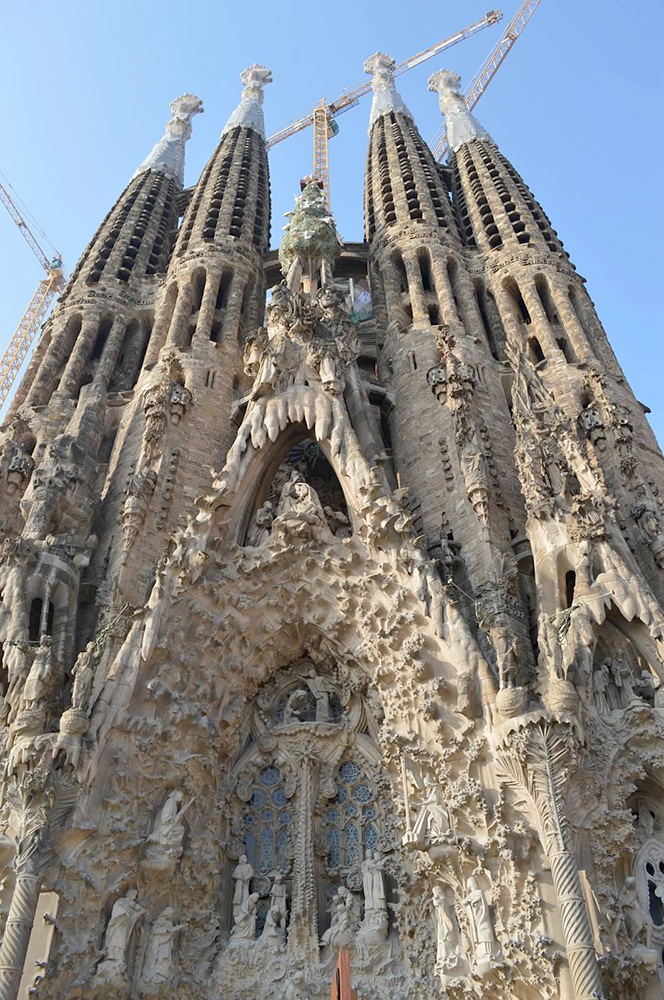 Exterior of La Sagrada Familia in Barcelona