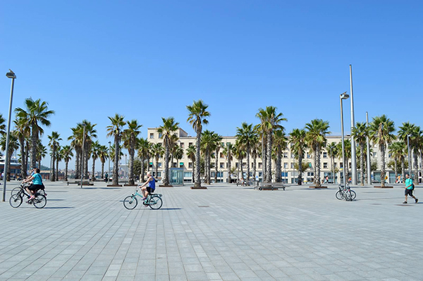Walking along Barcelona Beach