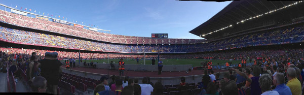 Panoramic shot from our seats at Camp Nou