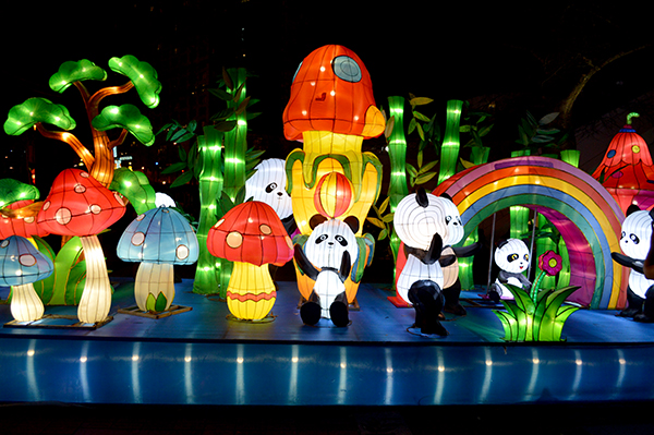 Mushrooms and Panda Lanterns